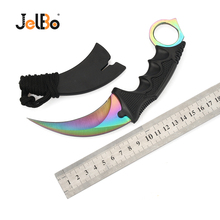 JelBo CS GO Knife with Sheath Survival Camping Tactical Knife Counter Strike Tactical Claw Karambit Hunting Knife Outdoor Tool cosplay cs go counter strike survival tactical claw combat fight tactical training rubber plastic soft knife axe