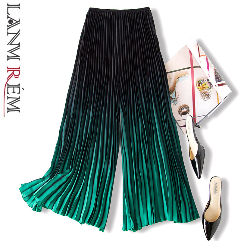 LANMREM 2019 Spring Summer New Pattern Fashion Gradient Color Pleated Trousers For Women Loose All-match   Wide     Leg     Pants   YH429