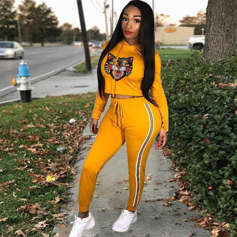 2 TWO PIECE SET Hooded Top Jogger Pants Women Pullover Tracksuit Tiger Head Pattern Print Female Sweat Suits Yellow Costume 2pcs