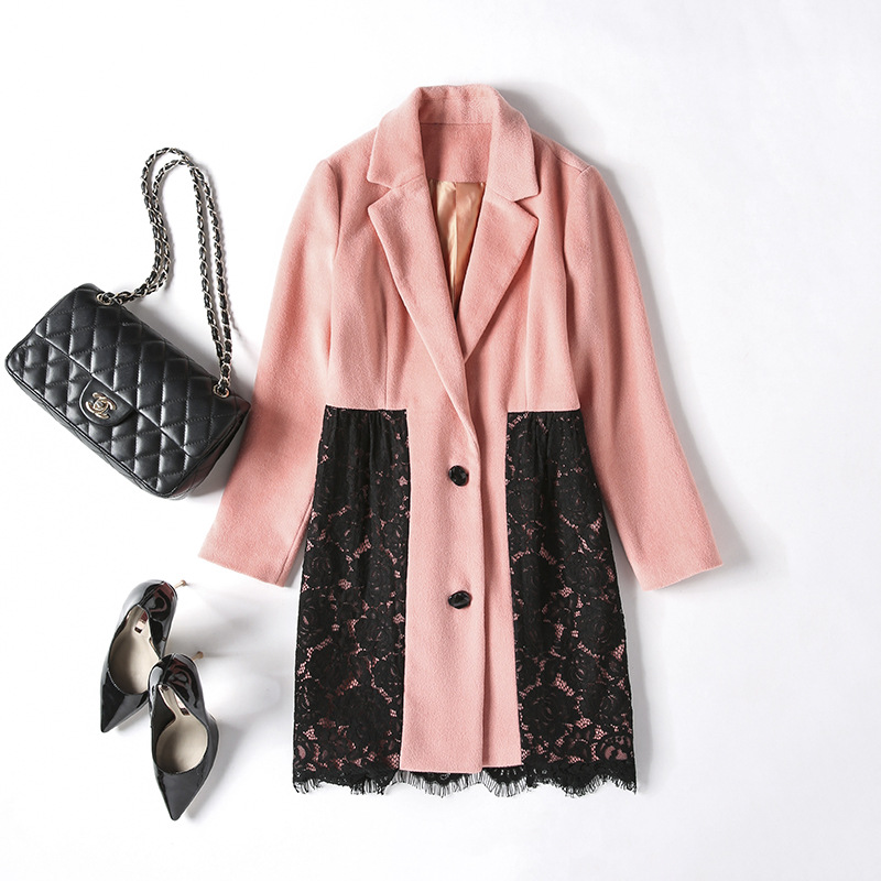Women's New double sided cashmere coat lace long single breasted woolen coat pink elegant cosy warm slim overcoat - 4