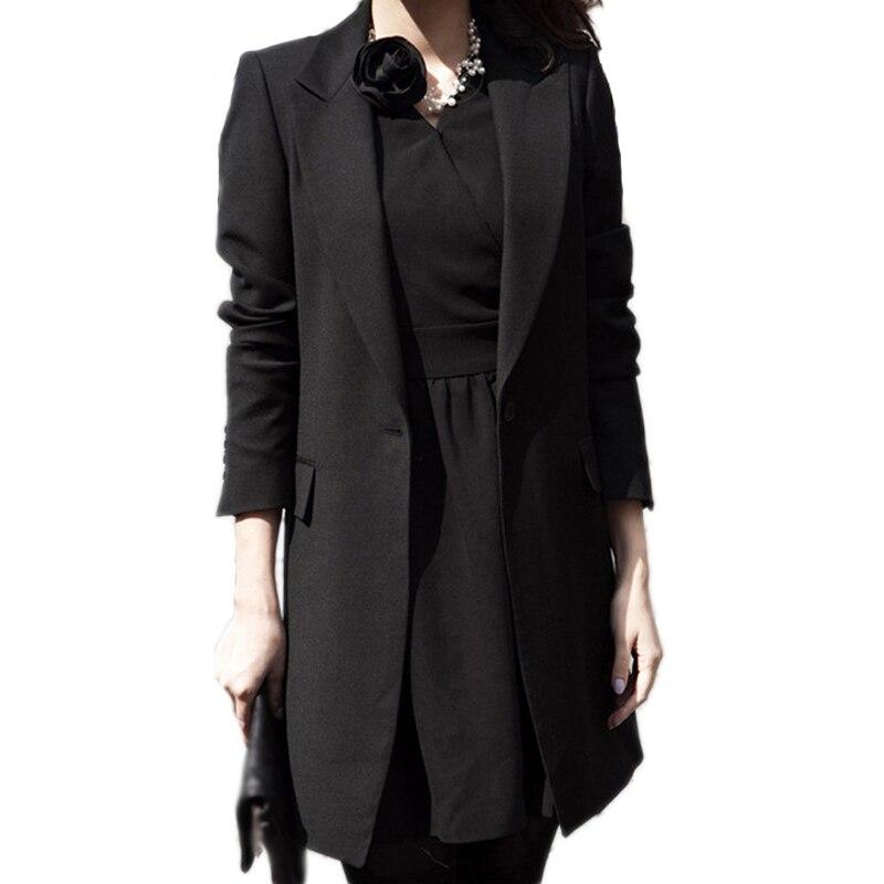 Spring Women Blazer Casual Suit 2019 Lapel Collar Long Sleeve Blazer Solid Single Button Black Long Coat Jacket Feminino Outwear
