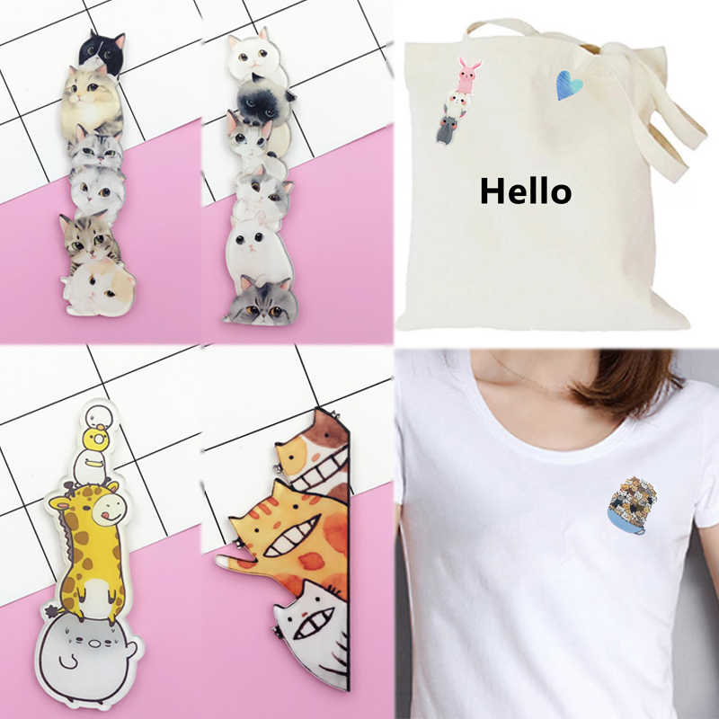 New 1PCCartoon Animal Skirt DIY Accessories Acrylic Lovely Cute Student Sweater Valentines Gift Icon Brooch Stacked Cats Badges