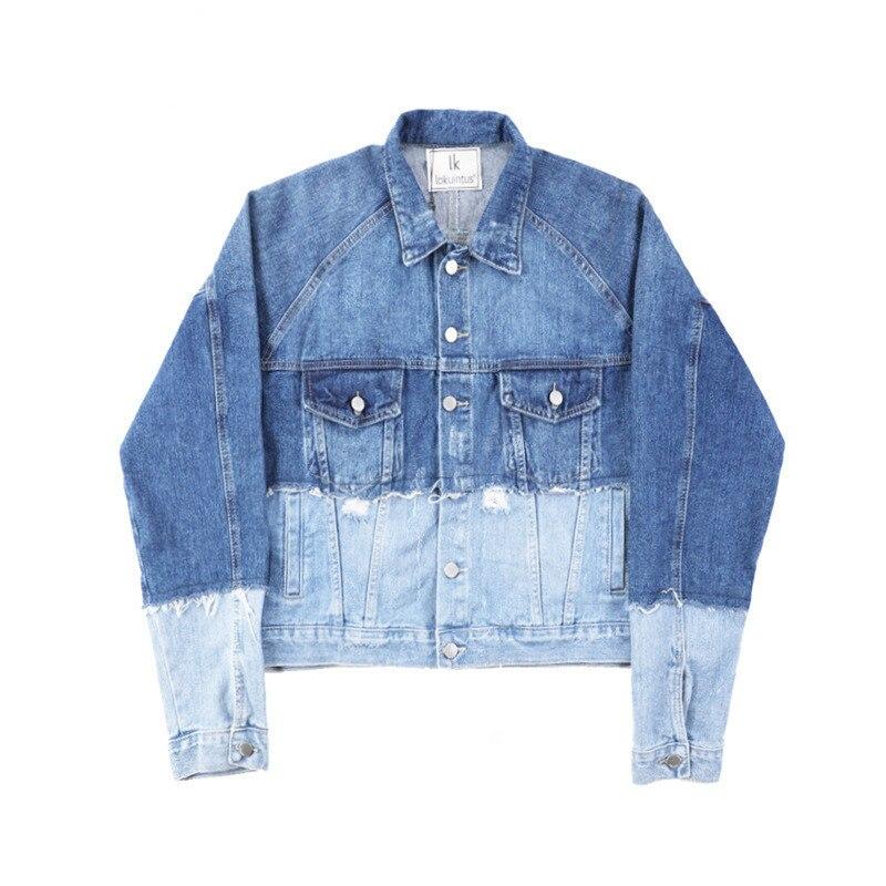 Femelle Col Lâche Vêtements R132 Femme Manteau Nouvelle Veste Pour Patchwork 2019 Bouton Blue Printemps Femmes Cowboy Longues Manches Carré P7vZtcAv