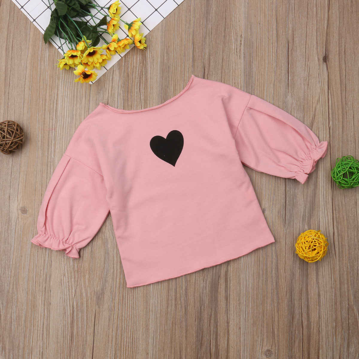 Crianças da criança do bebê menina manga longa puff mangas camisa topos outono meninas blusas roupas 1-6 t