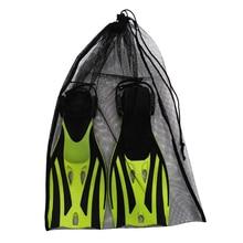 Многофункциональный Дайвинг затягивающийся сетчатый мешок для плавания Водные виды спорта пляж дайвинг путешествия тренажерный зал снаряжение Черный 64x46 см