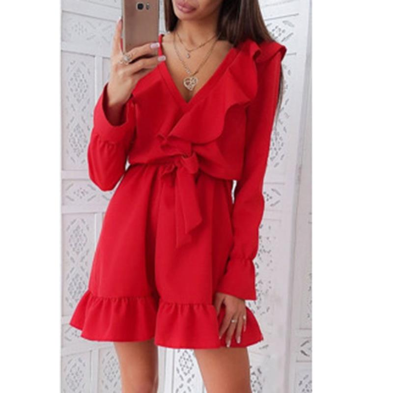 01041a8a85 Fall 2018 Women Casual Long Sleeve V-Neck Mini Dress Autumn Winter Fashion  Vintage Ruffle