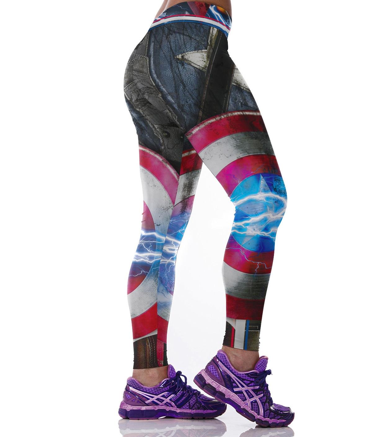 Womens Captain America Printed   Leggings   High Waist Elastic Sportswear Casual Long Pants Leggin Super Hero Iron Man Thor