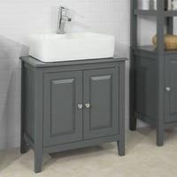 SoBuy® FRG202 DG Grey Under Sink Bathroom Storage Cabinet with Doors