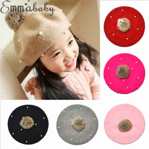 Kids Children Baby Girl Pearl Braid Beanie Hat Toddler Soft Stretch Winter Warm Knitted Fur Pom Bobble Cap Berets Hats