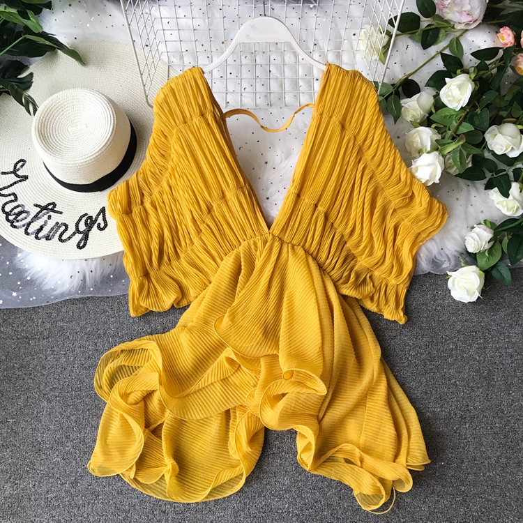 Summer Women Blouse Chiffon Ruched Low Cut V neck Irregular Pullover Shirt Female Batwing Sleeve Blouse Ladies Ruffles Suit Top