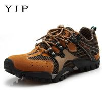 YJP Breathable Mesh Faux Suede Patchwork Men Shoes Outdoor Sports Climbing Hiking Sneakers Men Casual Shoes Large Size Eur39 46