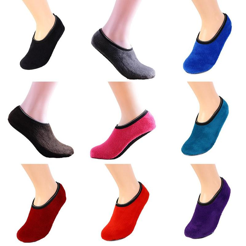 Winter Floor Socks Velvet Indoor Short Anti-skid Boat Socks Solid Color Warm Sock Slippers Living Room Shoe Cover Copriscarpe
