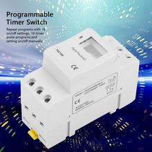 цена на 7 Days Programmable Digital Timer Switch Relay Control THC15A 220-240VAC 16A Electronic Weekly Din Rail Mount Timer Switch