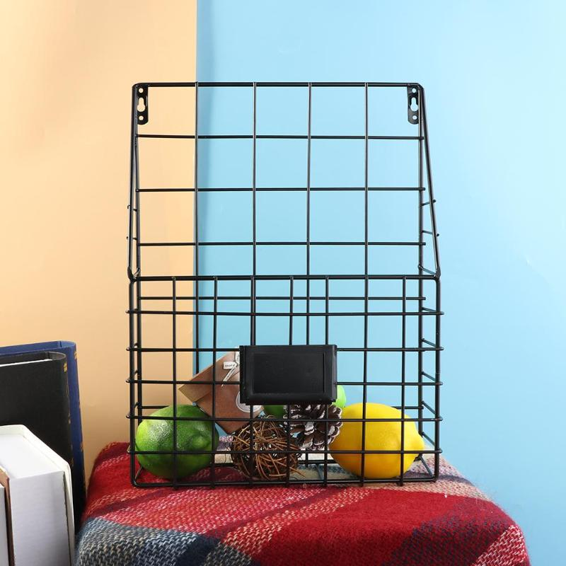 Simple Iron Wall Mounted Storage Rack Basket Metal Wall Hanging Display Shelf Desk Holder Magazine Organizer For Home Bedroom