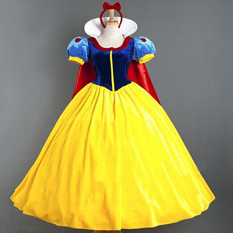 Hot Snow White Princess Adult Costume  Women Halloween Party Carnival Cosplay Costumes Girl Dress + Headwear Feminina Long Dress