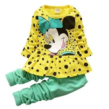 купить Fashion Spring Autumn Girls Clothing Active Sets Children Cartoon Print Long Sleeves Sweatshirts Pants 2Pcs  Kids Suit Tracksuit дешево