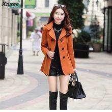 2018 New Elegant Women Wool Plus Size Yellow Red Khaki Maxi Long Coat Slim Female Woolen Blends Manteau Femme Robe Outerwear plus size beaded maxi long coat