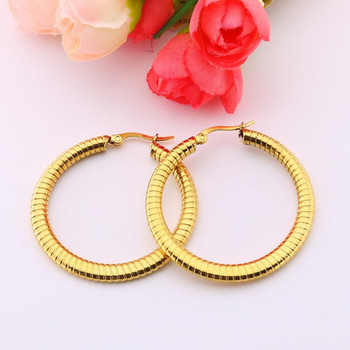 The Hollow Circle 40mm Brief Titanium Stainless Steel Colors Plated Men Earring Hoop Earrings For Women Classic Jewelry