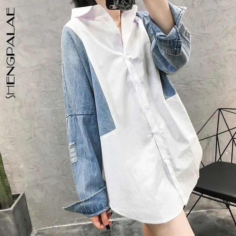 SHENGPALAE Patchwork Denim Long Sleeve Women Blouses Turn-down Collar Korean Fashion Top Spring Spring Loose Female Shirt FM1750