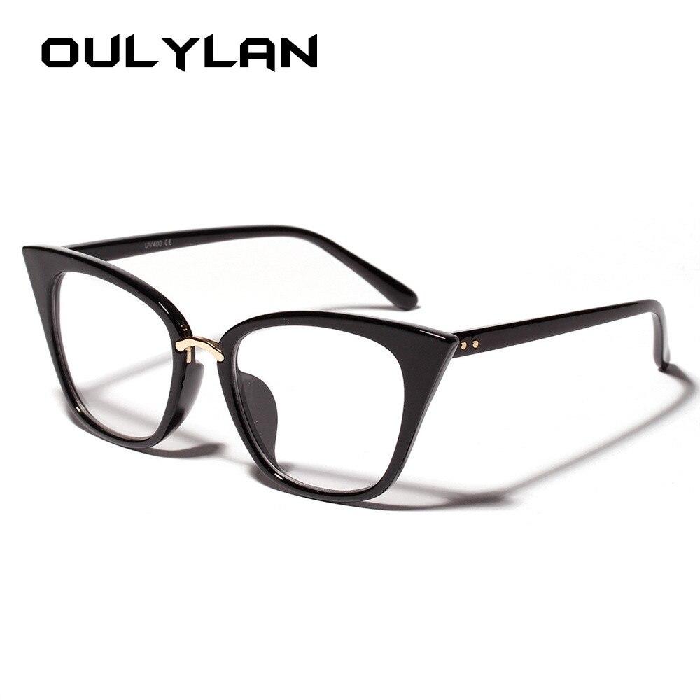 68ca319bf5 Oulylan Cat Eye Glasses Frame for Women Clear Lens Eyeglasses Oversized  Optical Glasses Frame Retro Cateyes
