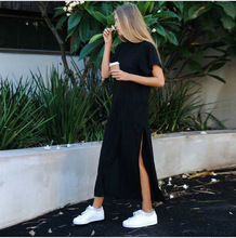 Womens Long Dress Round Neck Loose Short Sleeve Black Colour
