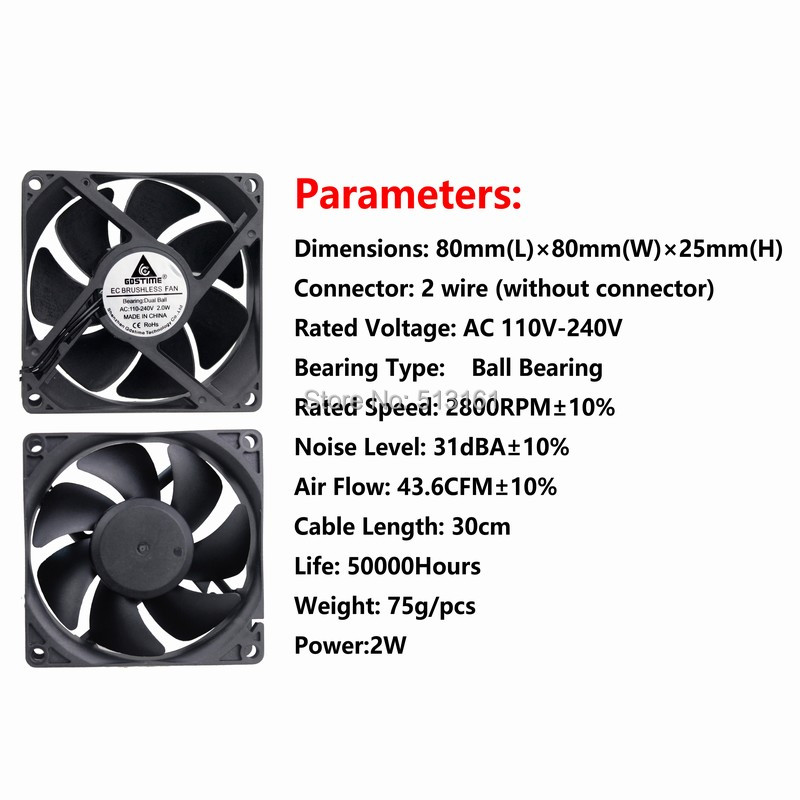Купить с кэшбэком 2 Pieces Gdstime 80mm AC 110V 115V 120V 220V 240V Fan 80mm x 25mm 8cm EC Brushless Cooling Cooler Fan Axial Fan
