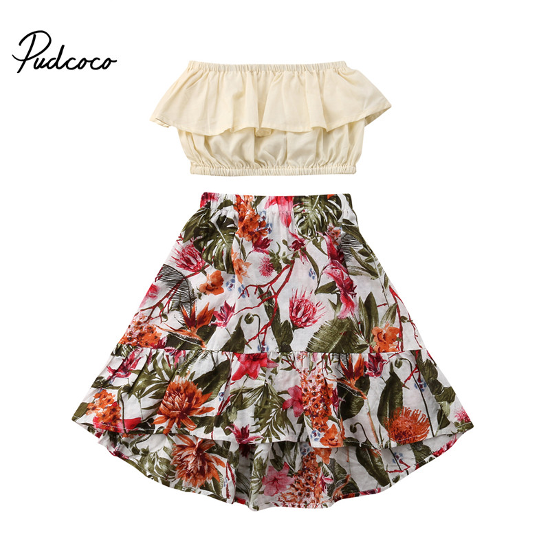 Newborn Toddler Baby Girl Summer Outfit Clothes Tops Dress Floral Skirt 2Pcs Set
