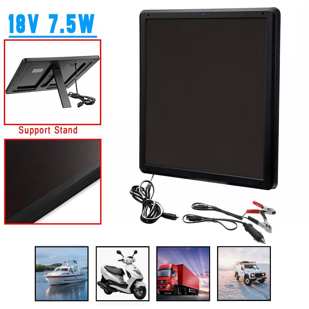 18 V 7.5 W panneau solaire Trickle chargeur de batterie mainteneur pour voiture véhicule charge pliable Support Stand 337x337x17mm étanche