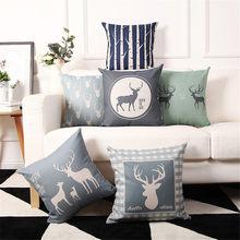 Estilo nórdico árvore de natal feliz elk cervos impressão capa almofada fronha almofadas decorativas para sofá do assento carro camas