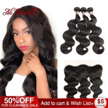 ALI ANNABELLE HAIR 13x4 Lace Frontal Closure With Bundles Peruvian Body Wave Human Hair Bundles With Lace Closure Remy Hair(China)