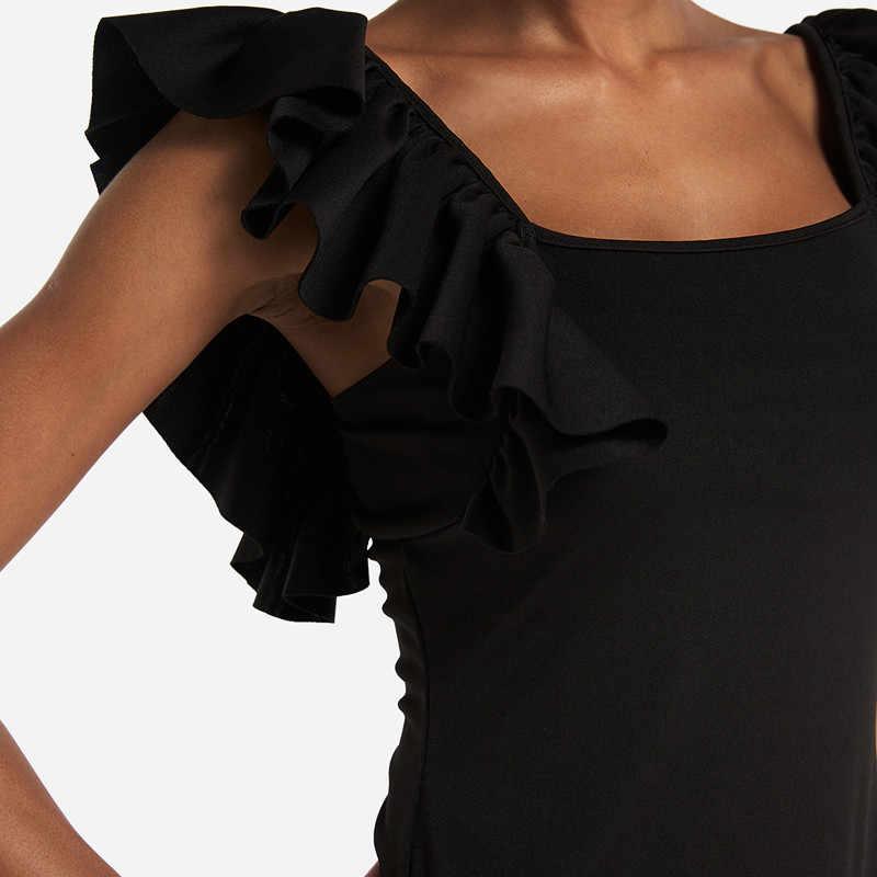 2019 женский комбинезон с оборками, боди, трико, верхний комбинезон, блузка, рубашки без рукавов, комбинезоны, облегающие эластичные комбинезоны
