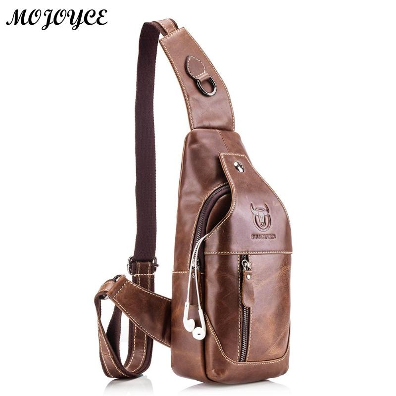 BULL Vintage Famous Brand Chest Pack Male Shoulder Bags Cow Leather  Crossbody Messenger Bag Fashion Multifunction f8b1a5ab9b2e2