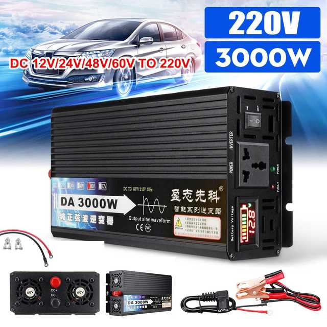 3000W Pure Sine Wave Power Inverter 12V/24V/48V/60V TO 220V LCD Display Voltage Converter