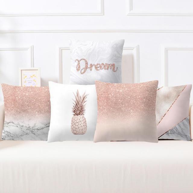 Funda de almohada 45*45 fundas de almohada Rosa almohadas decorativas Rosa oro geométrico piña brillo funda de cojín # YW