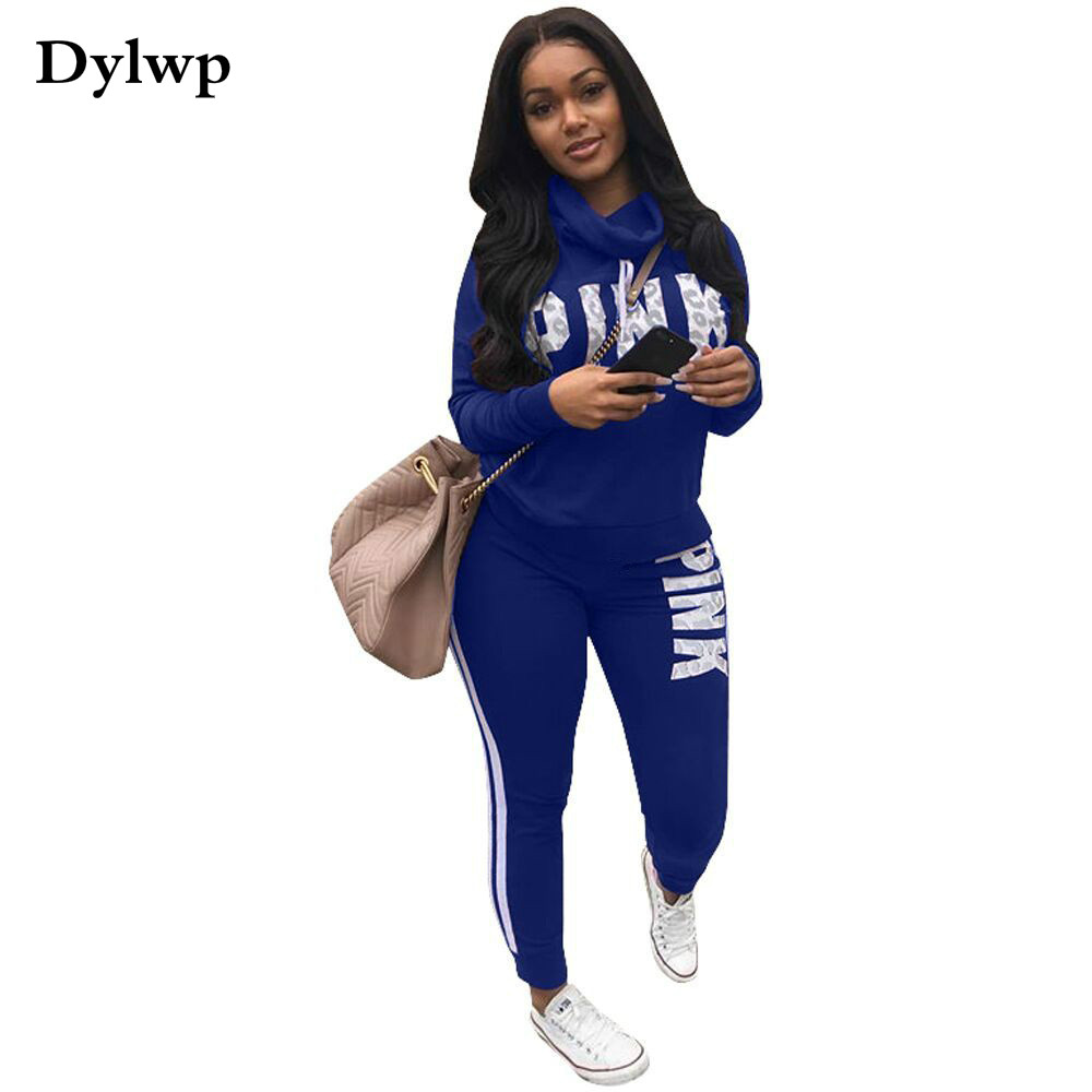Spring Woman Tracksuit 2 Piece Set Pink Print Full Sleeve Sweatshirt Top And Long Pants Casaul Female Sweat Suit Women Clothes