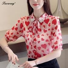 acbb4a040 2019 las nuevas mujeres blusas Casual rojo dulce OL suelto de manga corta  de corazón de impresión Bowknot mujer otoño elegante T..