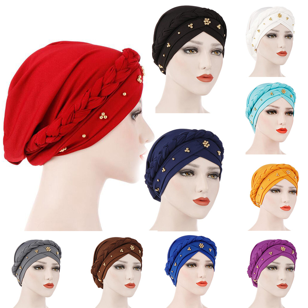 Muslim Hat Beads Braid Single Whip Turban Cap Elastic Cotton Bandanas Headscarf headpiece