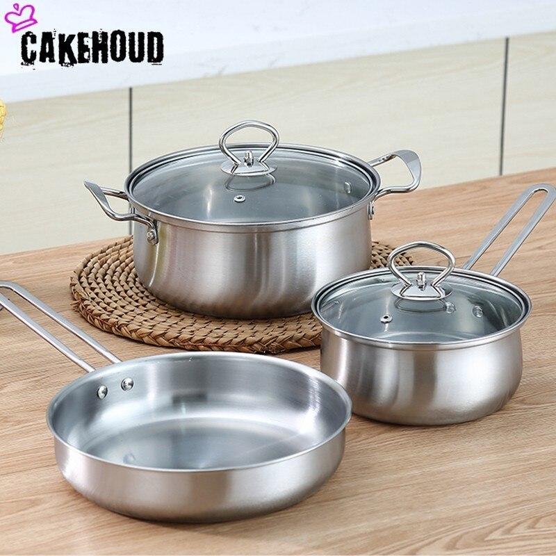 CAKEHOUD Ensemble de Cuisine En Acier Inoxydable Poêle antiadhésive Et Couvercle, Rouille Et Au Four D'épaississement Marmite Lait Pot Wok Pot