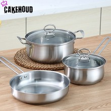 CAKEHOUD Kitchenware Set Stainless Steel Non-stick Pan And Lid, Rust And Oven Safe Thickening Cooking Pot Milk Pot Wok Pot