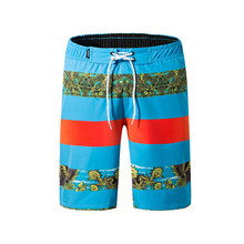 Moda Listrado Praia Shorts com Forro Homens Tropical Estilo Boardshorts Secagem  Rápida 2019 New Bermuda Praia fa4baa09e74f0