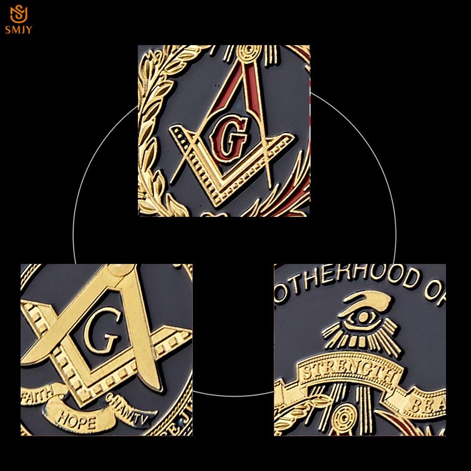 Euro Masonic Association Under A Brotherhood Of Man The Fatherhood Of God Gold Plated Token Challenge Commemorative Coin 5