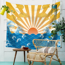 Waves Illustration Mandala Tapestry Wall Hanging Landscape Ocean Sun Hippie Cloth Tapestries Home Boho Decor Cover Blankets