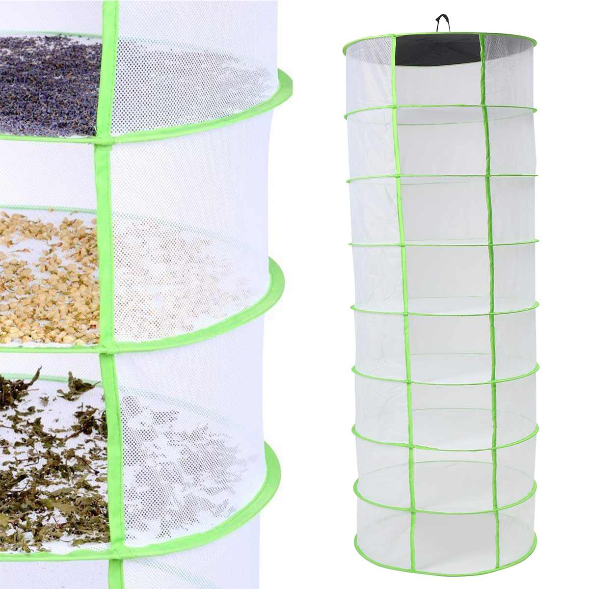 1Pc Foldable 8 Layer Herb Drying Rack Net Herb Dryer Mesh Hanging Dryer Fish Net Racks With Zipper Hanging Vegetable Fish Dishes
