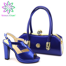 Lady Shoes African-Sets Matching-Bags Royal-Blue Party And Italian with Nigerian Women