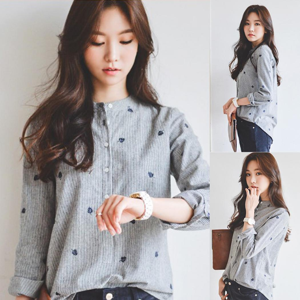Women Casual Loose Long Sleeve Embroidery Stand Stripe General   Blouse     Shirt   Top Grey Button Autumn/Spring