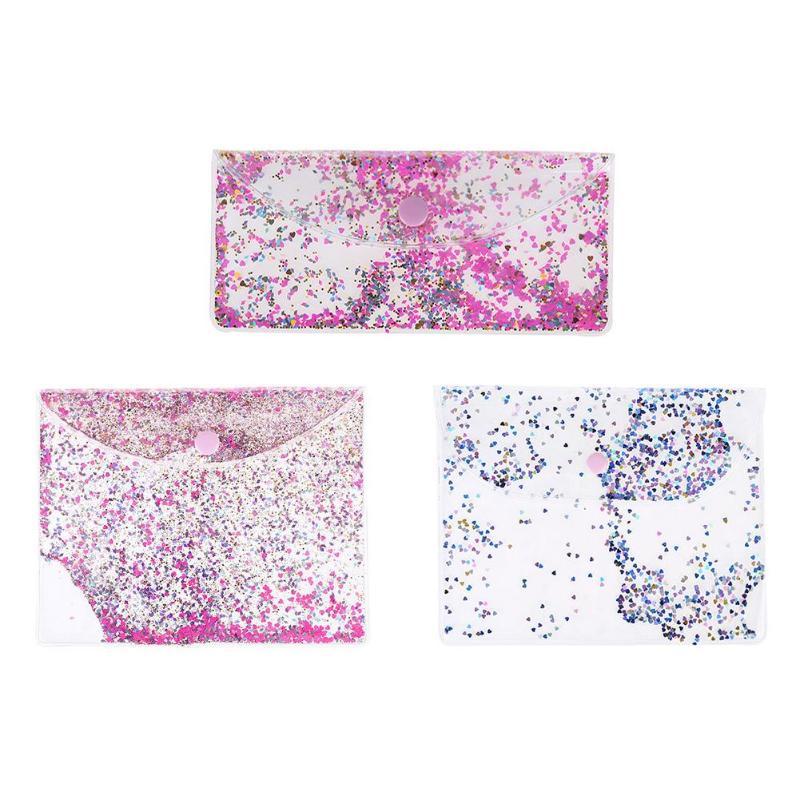 1pc Transparent PVC Sequins Filing Holder File Bag Waterproof Makeup Bag Pencilcase Makeup Handbag Bag Office Stationery S M L