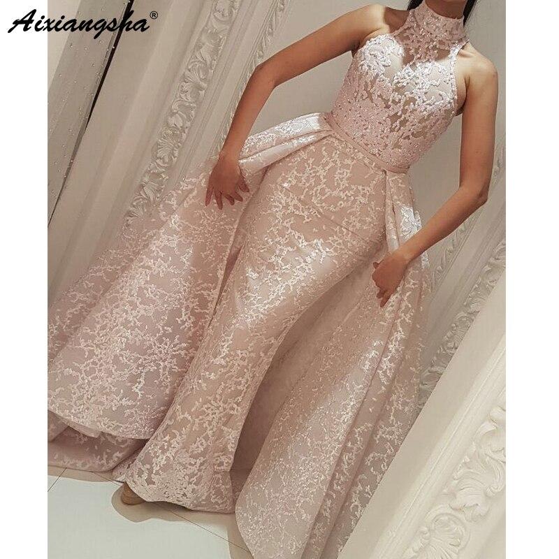 Evening Dresses Muslim Evening Dress 2019 Mermaid Cap Sleeves Tulle Lace Dubai Kaftan Saudi Arabic Pink Long Evening Gown Detachable Train