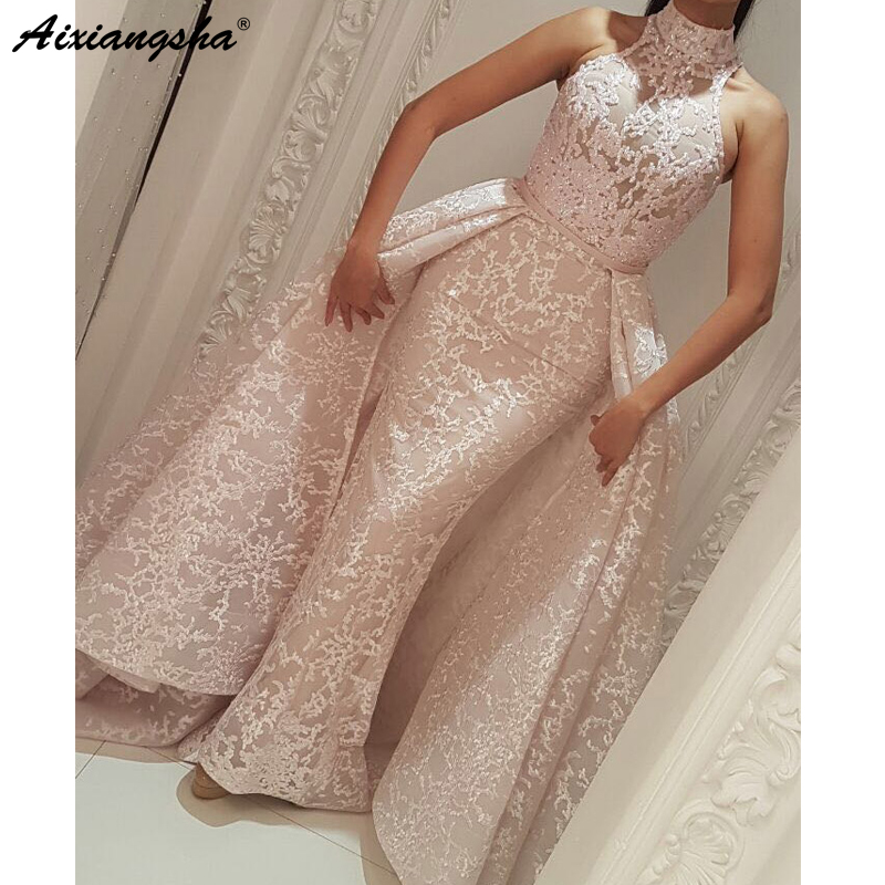 Muslim   Evening     Dresses   2019 Mermaid High Neck Detachable Skirt Lace Islamic Dubai Kaftan Saudi Arabic Long   Evening   Gown Prom