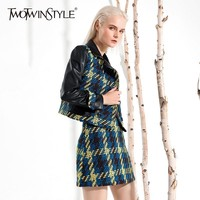 TWOTWINSTYLE Patchwork PU Leather Plaid Women's Suit Long Sleeve Short Coat High Waist Mini Skirt Two Piece Wool Set 2018 Autumn