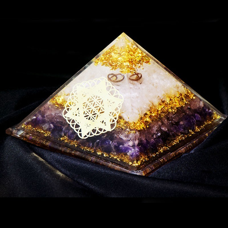 Constellation Customization Orgonite Pyramid Crystal Decoration Seven Chakras Powder Crystal Energy Tower Oro Tarot Astrology